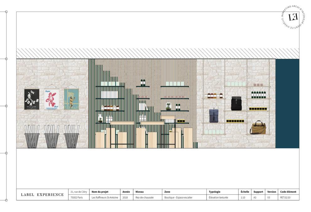 Label Experience : Les Raffineurs concept store Paris Bastille espace vente coupe architecturale