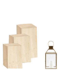 Label Experience : podium d'exposition en bois provenant de notre offre de location Movable