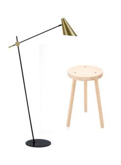 Label Experience : lampadaire d'intérieur et tabouret rond provenant du catalogue Movable