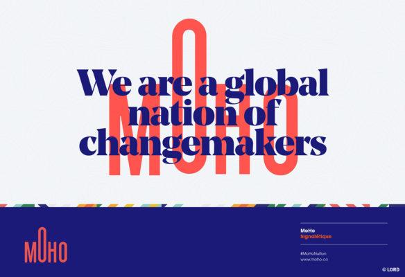 Label Experience : mise en page design du logo et de la baseline du MoHo, un tiers lieu dédié à l'innovation à Caen