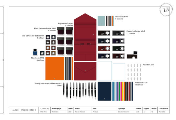Label Experience : dessins vectoriels des produits de la marque Montblanc