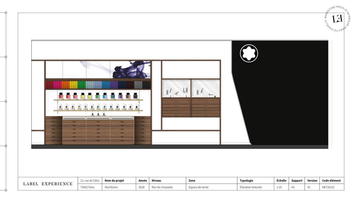 Label Experience : élévation du Ink Bar Montblanc en bois