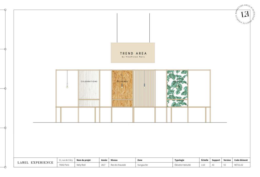 Label Experience : coupe architecturale du salon Vinovision à Paris