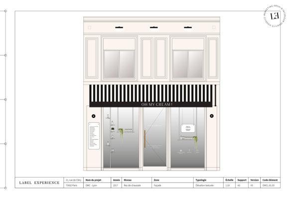 Label Experience : élévation de la façade de la boutique Oh My Cream à Lyon