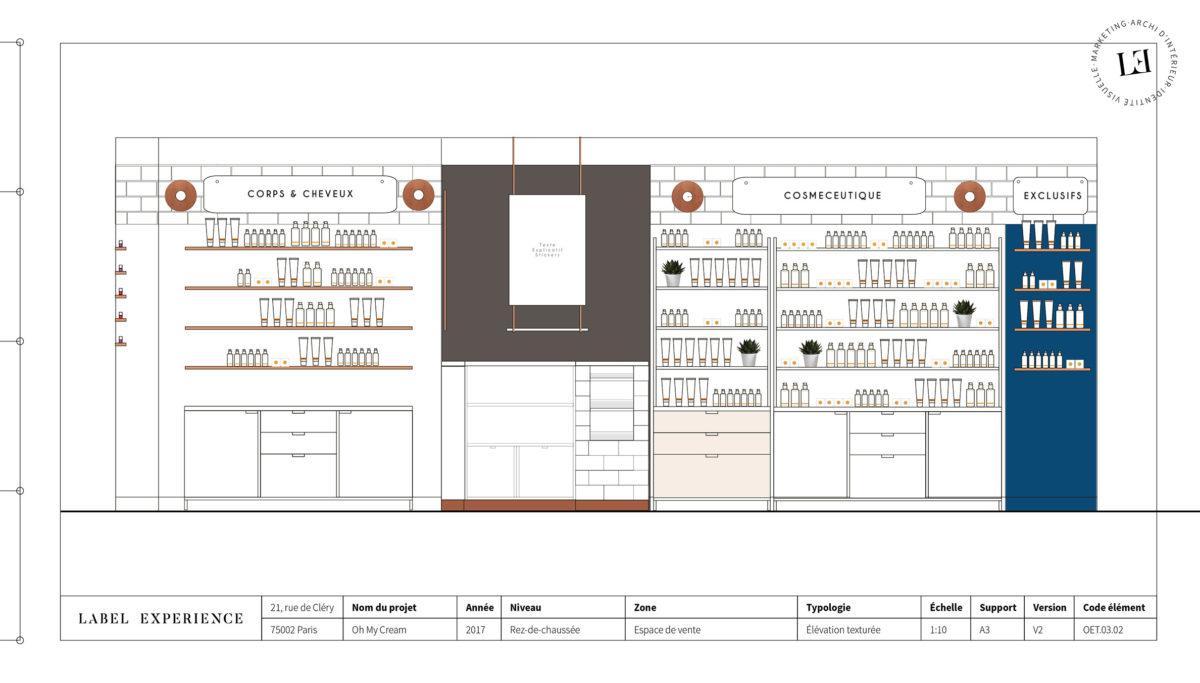 Label Experience : coupe architecturale de la boutique Oh My Cream à Lyon