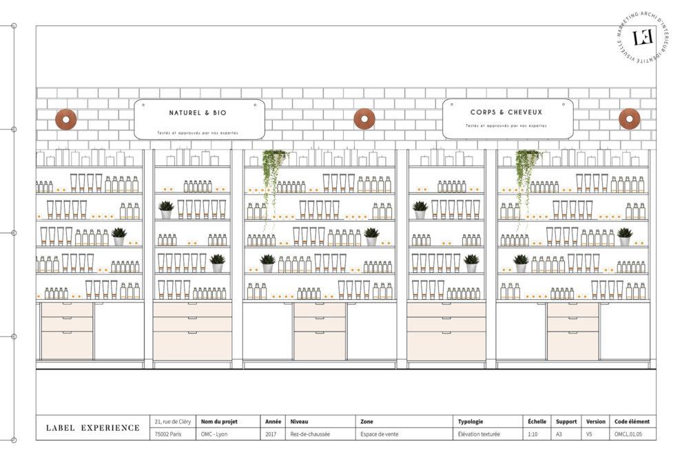 Label Experience : coupe architecturale de la boutique Oh My Cream à Lyon avec les grandes étagères produits