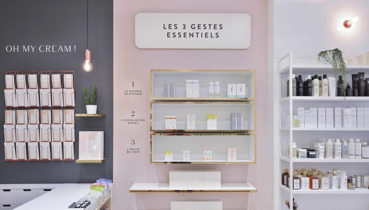 Label Experience : Focus sur l'étagère de produits skincare Oh My Cream dans la boutique rue Guichard à Paris