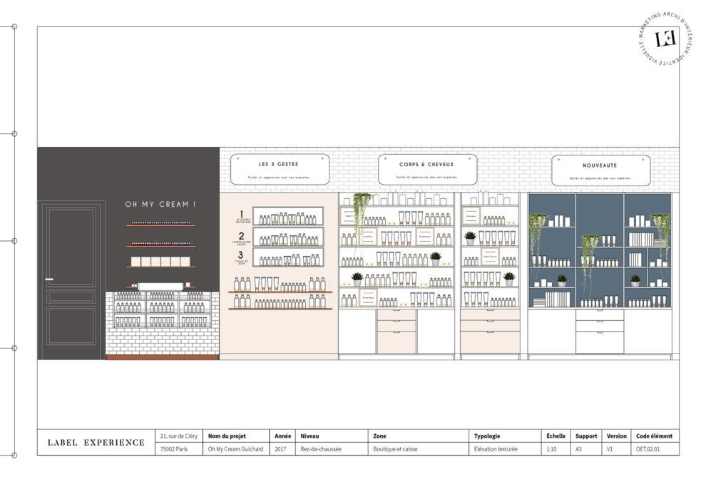 Label Experience : coupe architecturale de la boutique Oh My Cream rue Guichard à Paris