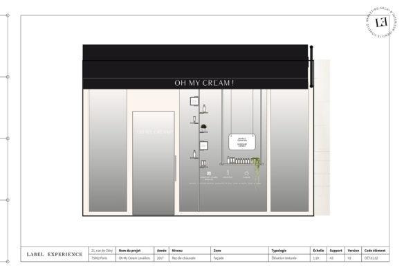Label Experience : élévation de la façade de la boutique Oh My Cream à Levallois-Perret