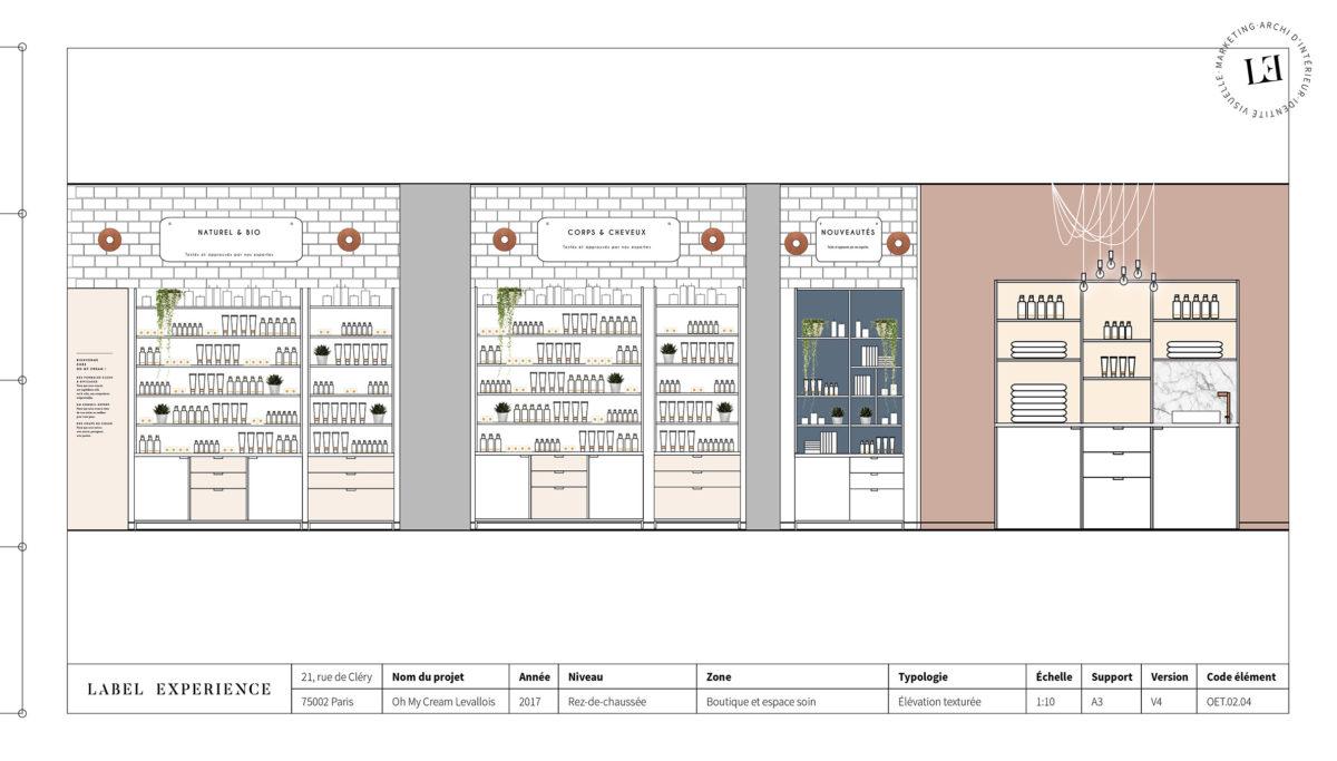 Label Experience : coupe architecturale de la boutique Oh My Cream à Levallois-Perret
