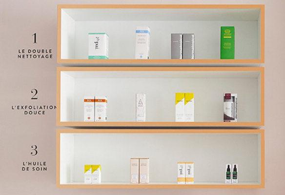 Label Experience : zoom sur l'étagère de produits skincare Oh My Cream dans la boutique à Levallois-Perret