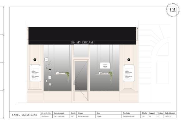 Label Experience: Croquis de la devanture parisienne de la boutique « Oh my cream ! » rue du Bac à Paris.