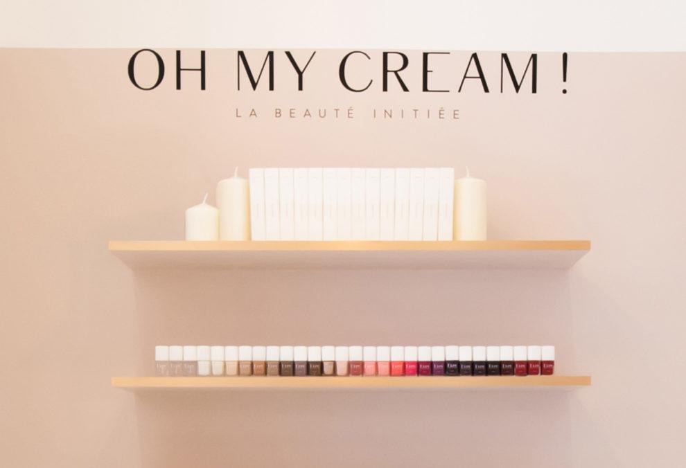 Label Experience: Focus logo de la marque et vernis à ongle de la boutique « Oh my cream ! » rue du Bac à Paris.