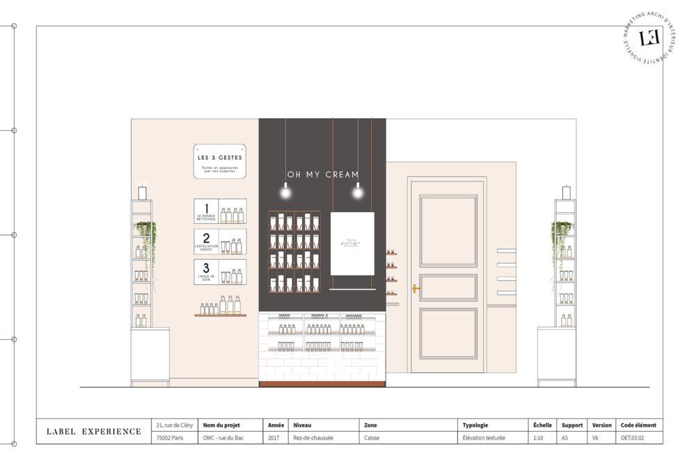 Label Experience: Croquis de l'aménagement de la boutique « Oh my cream ! » rue du Bac à Paris.