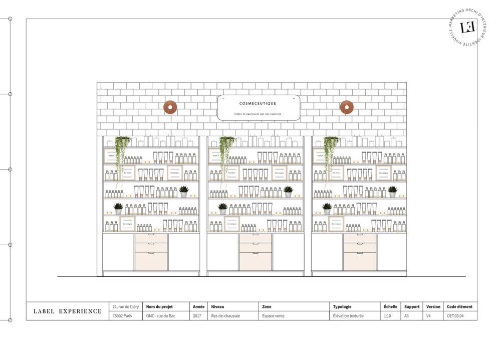 Label Experience: Croquis de l'aménagement des rayons de la boutique « Oh my cream ! » rue du Bac à Paris.