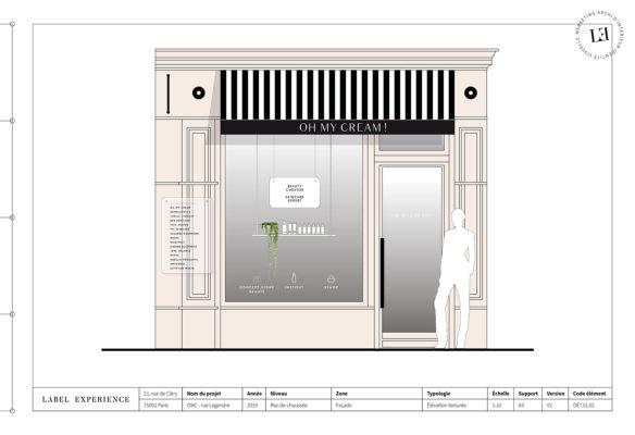Label Experience : élévation de la façade de la boutique Oh My Cream rue Legendre à Paris