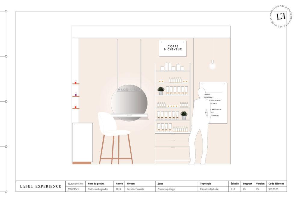 Label Experience : élévation de la cabine de soin dans la boutique Oh My Cream rue Legendre à Paris