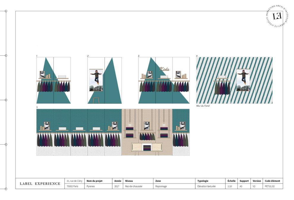 Label Experience : élévation architecturale de l'intérieur de la boutique Pyrenex à Paris