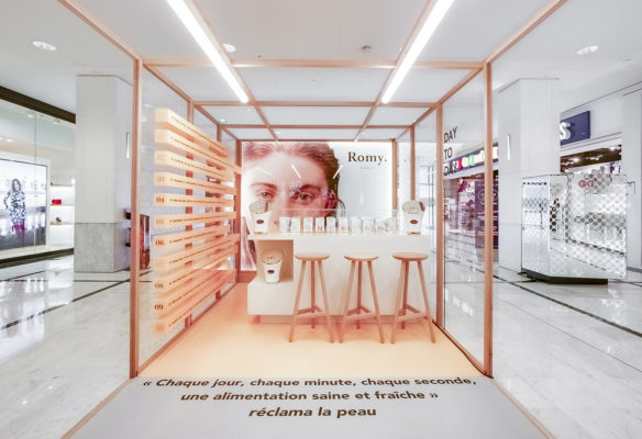 Label Experience: Point de vue global de l'espace de test du pop-up store « Romy » au Chesnay.
