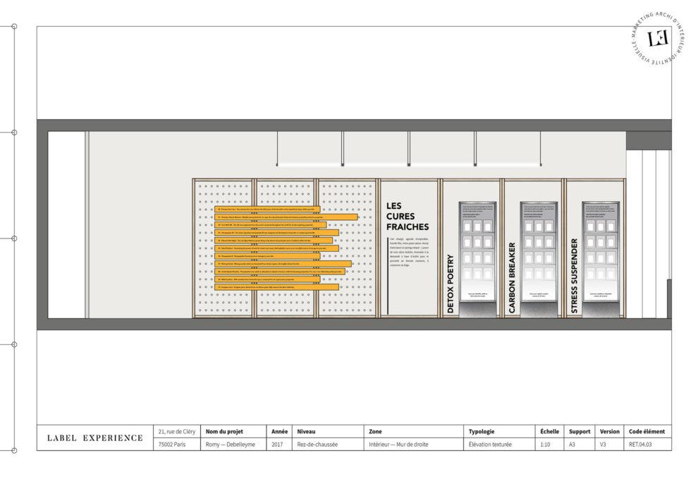 Label Experience: Croquis de l'aménagement du pop-up store « Romy » à Paris.