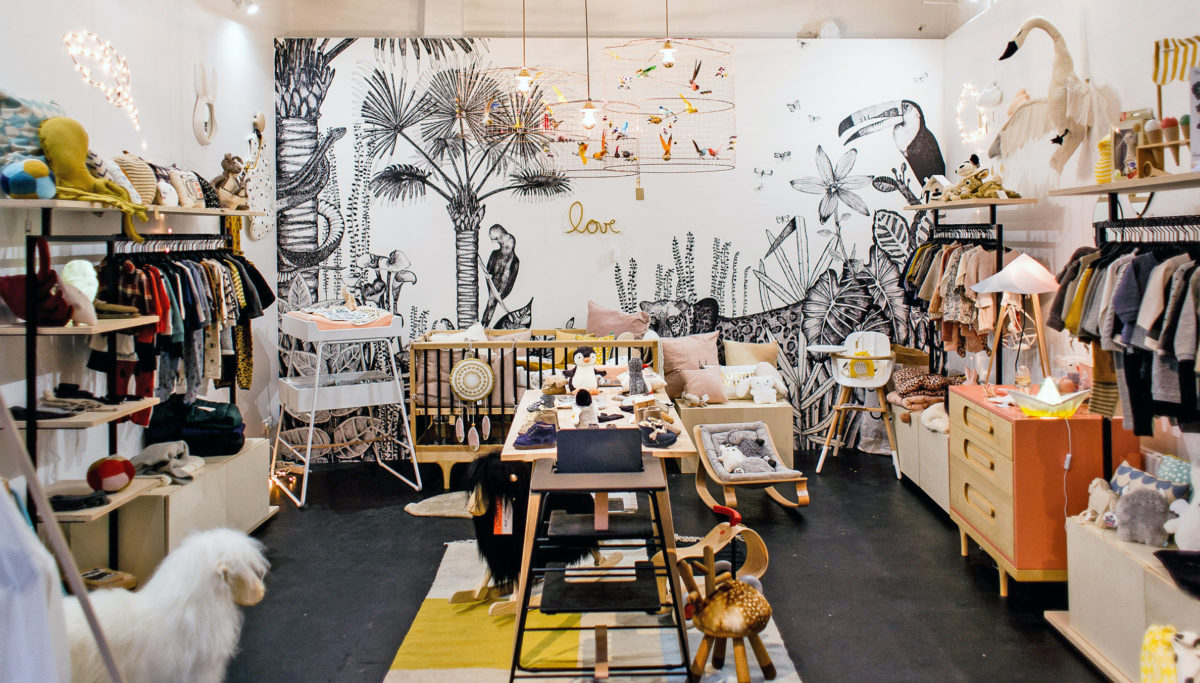 Label Experience : vue globale de l'espace bébé de la boutique Smallable à Paris