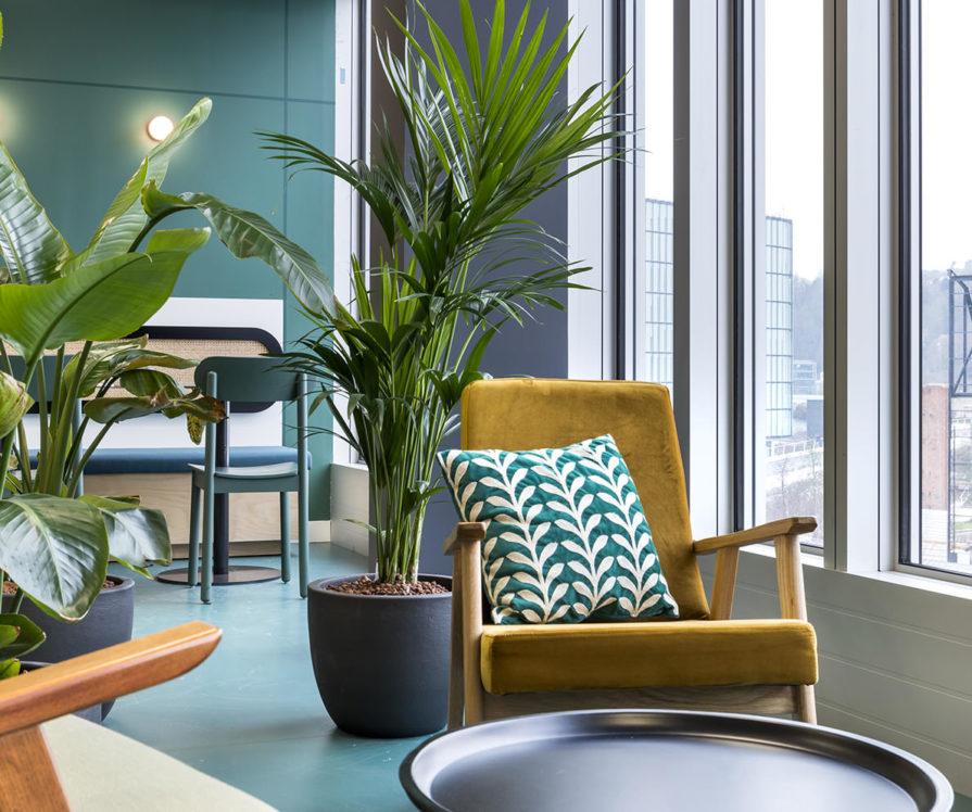 Label Experience: Coin détente avec plantes tropicales et fauteuil moutarde dans les nouveaux bureaux de « Sodexo » au Social Hub.