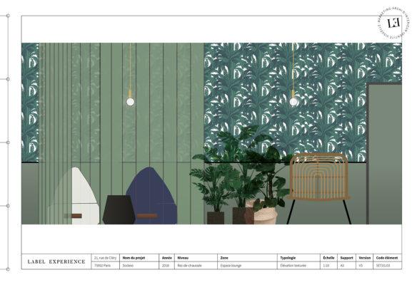 Label Experience: Croquis sur la décoration des nouveaux bureaux de « Sodexo » au Social Hub.