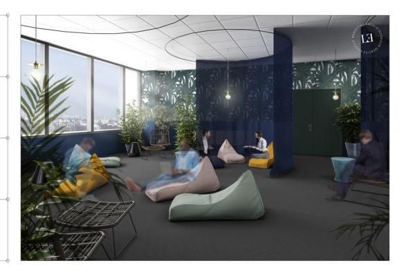 Label Experience: Image 3D du futur espace de coworking détente dans les nouveaux bureaux de « Sodexo » au Social Hub.