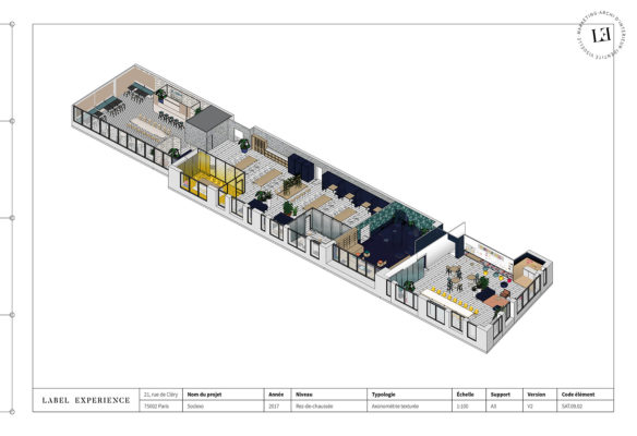 Label Experience: Plan vue d'en haut de l'ensemble des futurs bureaux de « Sodexo » au Social Hub.