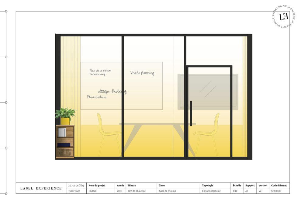 Label Experience: Croquis salle de réunion jaune derrière vitrine dans les nouveaux bureaux de « Sodexo » au Social Hub.