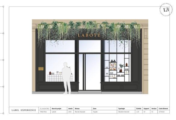 Label Experience : dessin architectural de la facade de la boutique Laboté à Paris