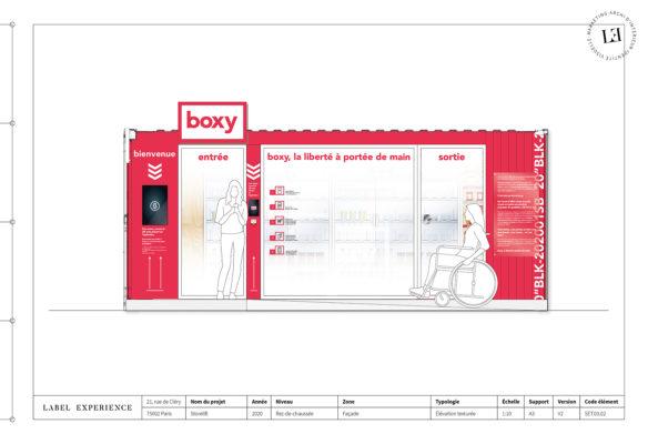 Label Experience : croquis de la boutique Boxy by Storelift