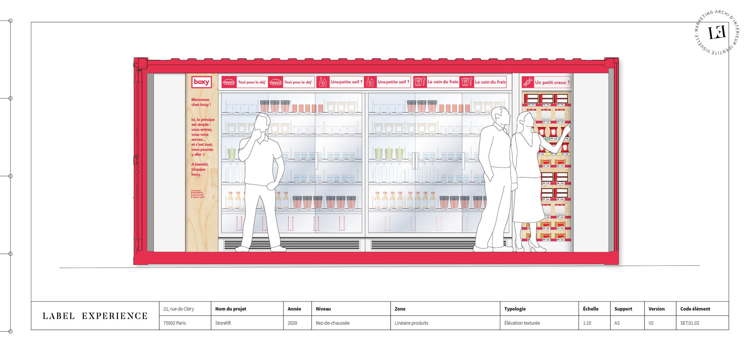 Label Experience : croquis du linéaire de la boutique Boxy by Storelift