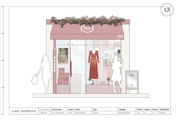 Label Experience : élévation de lal devanture de la boutique Soi à Saint-Germain-des-Prés