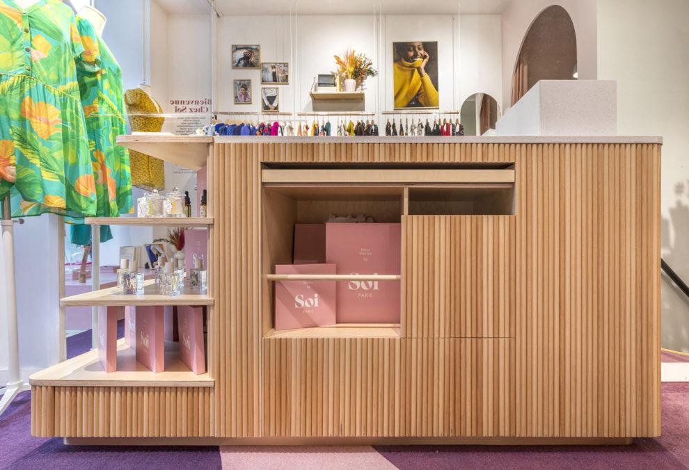 Label Experience : comptoir de vente de la boutique Soi à Saint-Germain-des-Prés