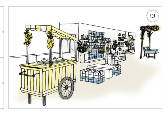 Dessin du bar à glaces fruttini par Label Team pour le corner Vanessa Bruno Capri au Bon Marché